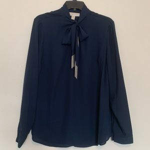 Michael Kors dark blue long sleeve blouse